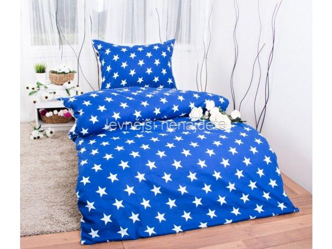 Bavlněné povlečení  hvězdy modré 140 x 200 70 x 90