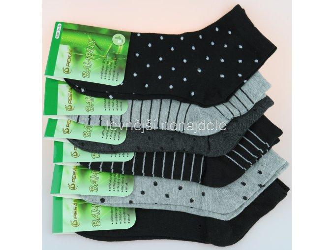 Dámské bambusové kotníkové ponožky šed 3 páry