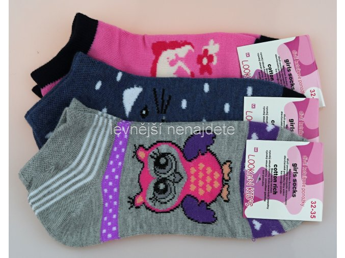 Dívčí bavlněné kotníkové ponožky ZT 3 páry
