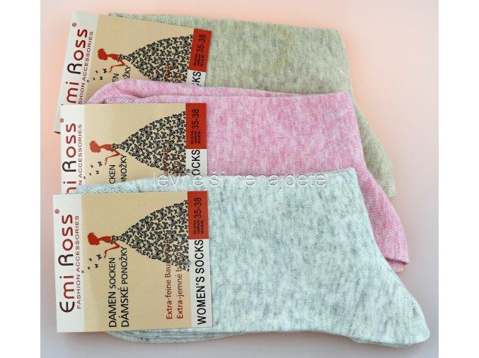 extra jemné bavlněné ponožky mel 3 páry