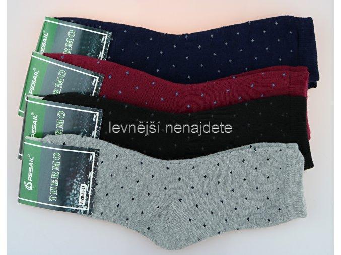 Dámské bavlněné termo ponožky puntík