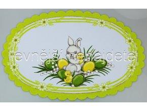 Velikonoční ubrus zelený zajíček ovál 32 x 48 cm