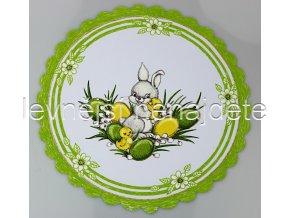 Velikonoční ubrus zelený zajíček kulatý 35 cm