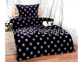 Bavlněné povlečení  hvězdy černé 140 x 200 70 x 90