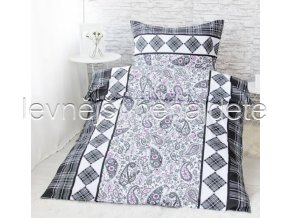 Bavlněné povlečení na dvě lůžka EVŽÉNIE - šedá/lila 2 x 140 x 200 2x 70 x 90