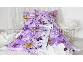 Bavlněné povlečení na dvě lůžka KAROLÍNA - fialová 2 x 140 x 200 2x 70 x 90