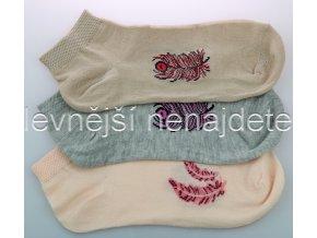 Dámské kotníkové ponožky pírko  3 páry