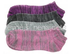 Dámské kotníkové bavlněné ponožky melír 3 páry