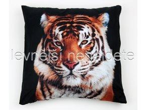 Povlak na polštářek s motivem 3D tygr 43 x 43 cm