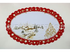 Vánoční ubrus červený ovál vesnička 31 x 46 cm