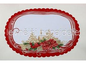 Vánoční ubrus červený ovál 34 x 49 cm
