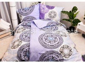 Bavlněné povlečení OLIVIE bílo/fialové 140 x 200  70 x 90