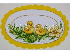 Velikonoční ubrus žlutý ovál  20 x 30 cm