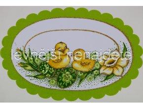 Velikonoční ubrus zelený ovál  20 x 30 cm