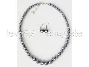 Souprava šedé perličky a náušnice