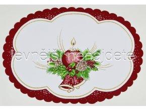 Vánoční ubrus vínový ovál 34 x 49 cm