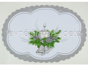 Vánoční ubrus stříbrný ovál 34 x 49 cm