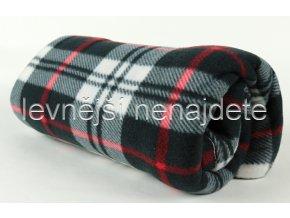 Fleecová deka kostka černobílá 150 x 200