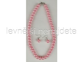 Souprava růžové perličky a náušnice