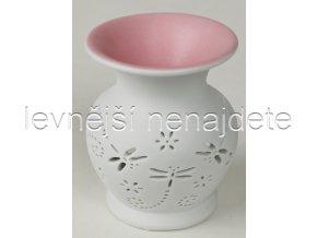 Keramická aroma lampa růžová vážka