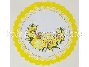 Velikonoční ubrus žlutý kulatý vajíčka 34 cm