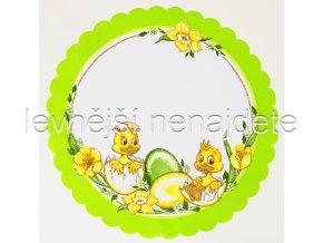 Velikonoční ubrus zelený kulatý kuř 34 cm