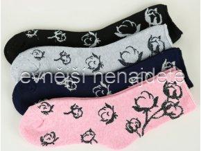 Dámské bavlněné termo ponožky květ 2 páry