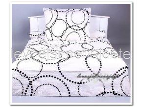 Bavlněné prodloužené povlečení kružnice bílá 2x 140x220 2x 70x90