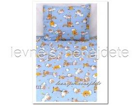 Bavlněné povlečení do postýlky Medvídek žebřík modré 90x135 45x65