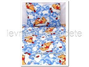 Bavlněné povlečení do postýlky Medvídek s beruškou modré 90x135 45x65