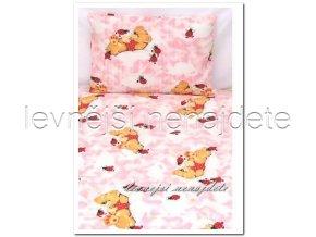 Bavlněné povlečení do postýlky Medvídek s beruškou růžové 90x135 45x65