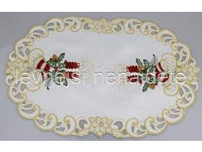 Vánoční vyšívaný ubrus červený ovál 30 x 45 cm