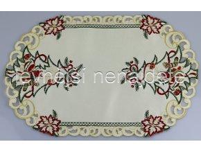 Vánoční vyšívaný ubrus smetanový ovál 30 x 45 cm