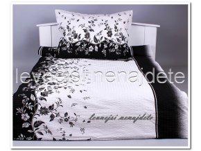 Krepové povlečení  - Kvitek Černý 140 x 200 70 x 90