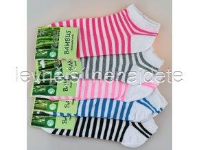 Dámské bambusové kotníkové ponožky proužek 3 páry