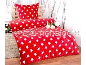 Bavlněné povlečení  hvězdy červené 140 x 200 70 x 90
