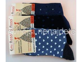 extra jemné bavlněné ponožky modr 3 páry