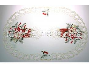 Vánoční vyšívaný ubrus vz.5 ovál 30 x 45 cm