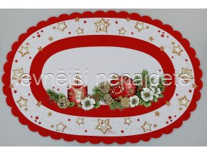 Vánoční ubrus červený ovál 35 x 50 cm
