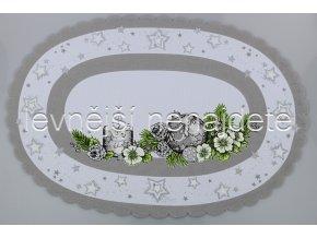 Vánoční ubrus šedý ovál 35 x 50 cm