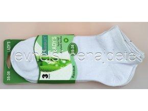 Dámské bambusové kotníkové ponožky bílé 3 páry