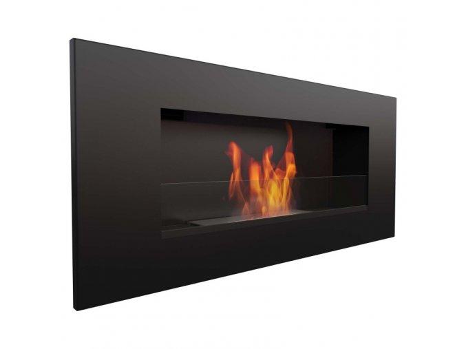biocamino nero opaco con vetro 90x40 cm da parete delta 2 bruciatore da 12 litri