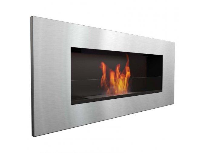 biocamino acciaio con vetro 90x40 cm da parete delta 2 slif bruciatore da 12 litri