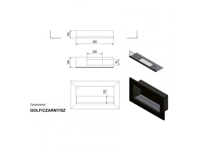biokrb golf horizontal cerny se sklem 3909