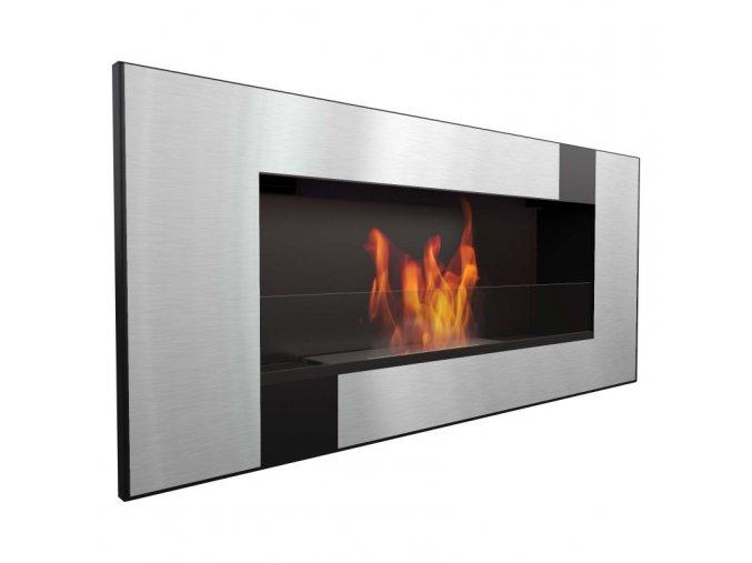 biocamino 90x40 cm con vetro da parete delta 2 qube bruciatore da 12 litri