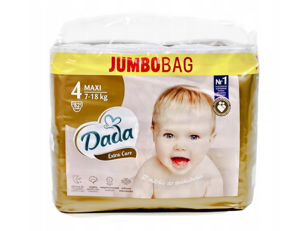 7620 dada extra care zlate velikost 4 maxi jumbo bag 7 18kg 82plen www babatko cz