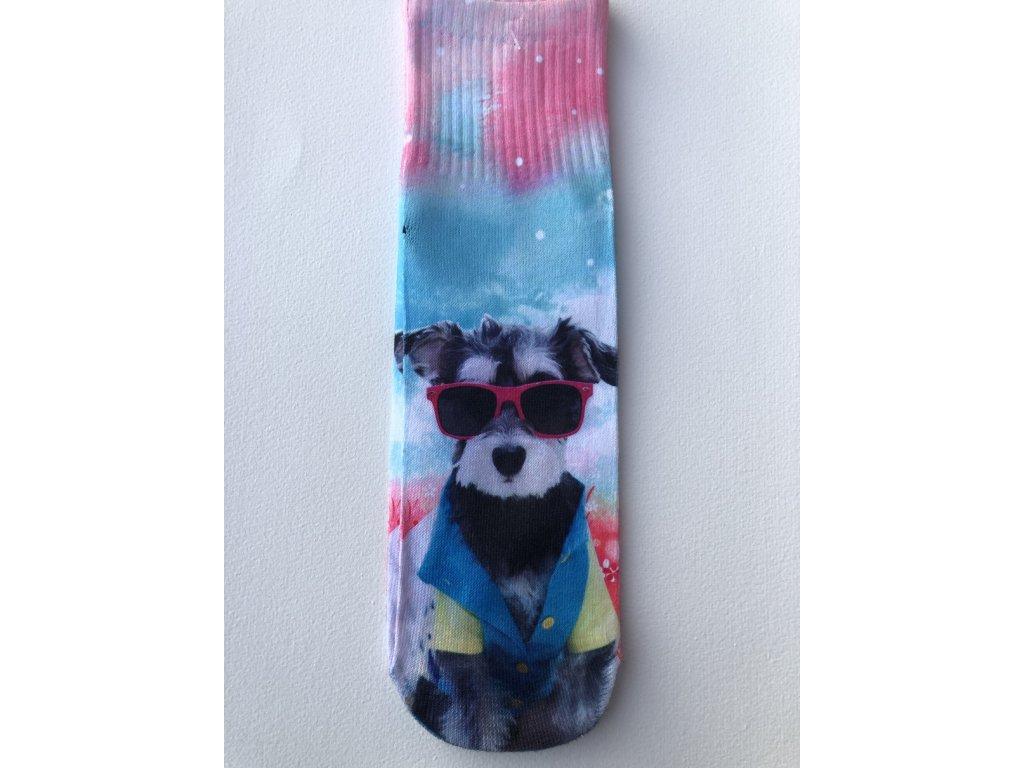 Dámské ponožky s celopotiskem zvířátek, velikost 38-41 Pes