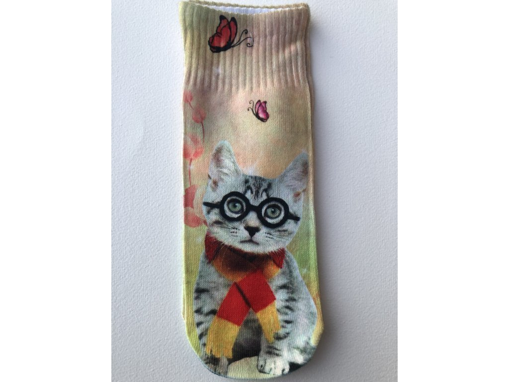 Dětské ponožky s celopotiskem zvířátek, velikost 32-35 Kočka