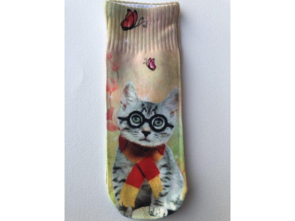 Dětské ponožky s celopotiskem zvířátek, velikost 24-27 Kočka