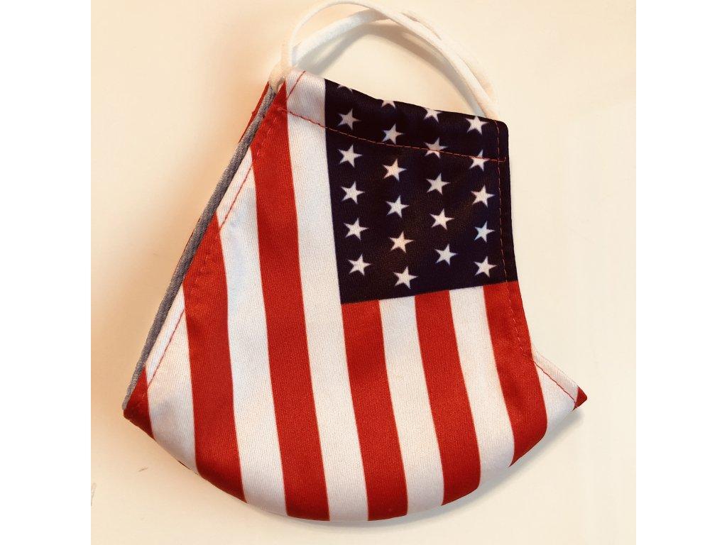 BAVLNĚNÁ ROUŠKA DVOUVRSTVÁ USA Americká Vlajka